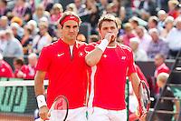 15-09-12, Netherlands, Amsterdam, Tennis, Daviscup Netherlands-Suisse, Doubles,   Roger Federer/Stanislas Wawrinka (R)