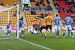St Johnstone v Motherwell…28.09.19   McDiarmid Park   SPFL<br />Devante Cole scores fro well<br />Picture by Graeme Hart.<br />Copyright Perthshire Picture Agency<br />Tel: 01738 623350  Mobile: 07990 594431