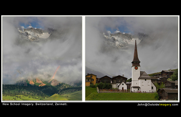 Switzerland, Zermatt.  New School Imagery<br /> Photo composites from Switzerland, Chamonix and Colorado, with a rainbow thrown in for good measure.  From John's Photoshop and Lightroom workshop.
