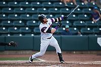 Gunnar Troutwine (12) of the Winston-Salem Rayados at bat against the Llamas de Hickory at Truist Stadium on July 6, 2021 in Winston-Salem, North Carolina. (Brian Westerholt/Four Seam Images)