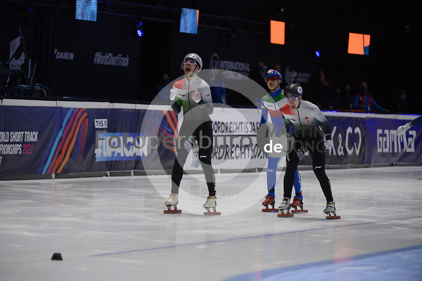SPEEDSKATING: DORDRECHT: 07-03-2021, ISU World Short Track Speedskating Championships, Final A 1000m Men, Shaolin Sandor Liu (HUN), Shaoang Liu (HUN), Pietro Sighel (ITA), ©photo Martin de Jong