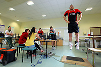 Pictured: Stephen Dobbie (R) gets tested by Sports Science students.<br />