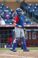 Buffalo Bison catcher Reese McGuire (3) on defense against the Durham Bulls at Durham Bulls Athletic Park on April 25, 2018 in Allentown, Pennsylvania.  The Bison defeated the Bulls 5-2.  (Brian Westerholt/Four Seam Images)