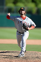 Mesa Solar Sox pitcher R.J. Alvarez (39), of the Los Angeles Angels of Anaheim organization, during an Arizona Fall League game against the Glendale Desert Dogs on October 8, 2013 at Camelback Ranch Stadium in Glendale, Arizona.  The game ended in an 8-8 tie after 11 innings.  (Mike Janes/Four Seam Images)
