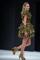 Camille Lou portant la robe de Nicolas Fafiotte et des dragees Reynaud au Salon du Chocolat coiffure Franck Provost maquillage Make Up For Ever Paris 2017 - SALON DU CHOCOLAT 2017, 27/10/2017, PARIS, FRANCE