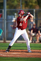 Boston College Eagles pinch hitter Reyce Curnane (33) at bat during a game against the Minnesota Golden Gophers on February 23, 2018 at North Charlotte Regional Park in Port Charlotte, Florida.  Minnesota defeated Boston College 14-1.  (Mike Janes/Four Seam Images)