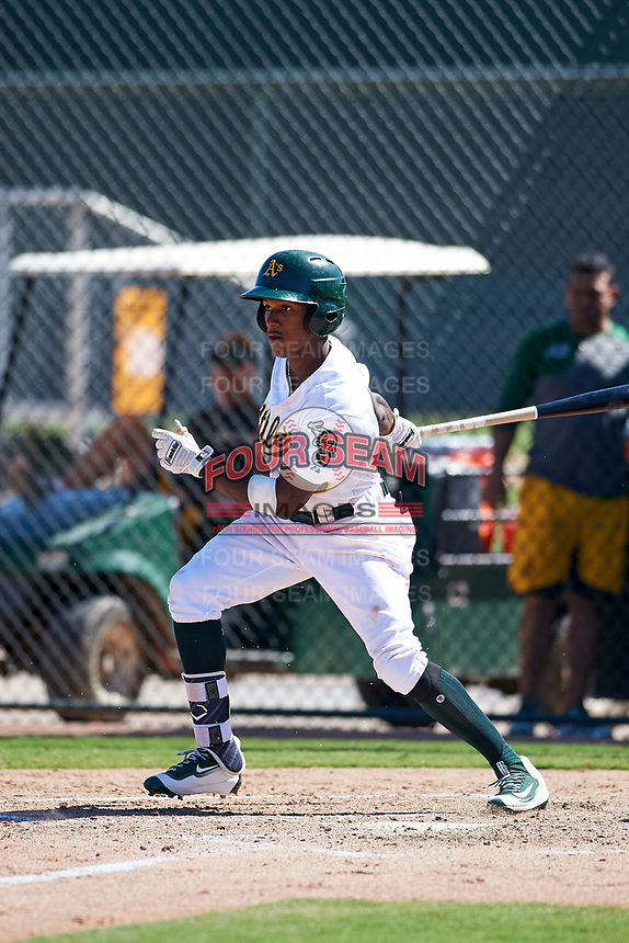 Oakland Athletics second baseman Marcos Brito (3) follows through on his swing during an Instructional League game against the Cincinnati Reds on September 29, 2017 at Lew Wolff Training Complex in Mesa, Arizona. (Zachary Lucy/Four Seam Images)