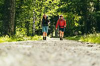 Two female hikers along the Sjuhäradsleden, West Sweden, Sweden - Västsverige, Sverige