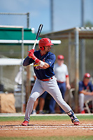 GCL Cardinals first baseman Zack Gahagan (38) at bat during a game against the GCL Marlins on August 4, 2018 at Roger Dean Chevrolet Stadium in Jupiter, Florida.  GCL Marlins defeated GCL Cardinals 6-3.  (Mike Janes/Four Seam Images)