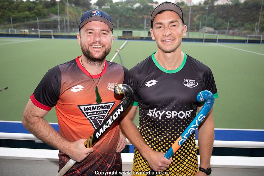 Leon Hayward and Jacob Smith, Hockey Premier League Official Launch, Auckland Grammar Hockey Turf, Auckland, New Zealand. Photo: Simon Watts/www.bwmedia.co.nz/HockeyNZ