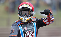 Ben Morley of Lakeside Hammers celebrates after winning Heat 15<br /> <br /> Photographer Rob Newell/CameraSport<br /> <br /> National League Speedway - Lakeside Hammers v Eastbourne Eagles - Lee Richardson Memorial Trophy, First Leg - Friday 14th April 2017 - The Arena Essex Raceway - Thurrock, Essex<br /> © CameraSport - 43 Linden Ave. Countesthorpe. Leicester. England. LE8 5PG - Tel: +44 (0) 116 277 4147 - admin@camerasport.com - www.camerasport.com