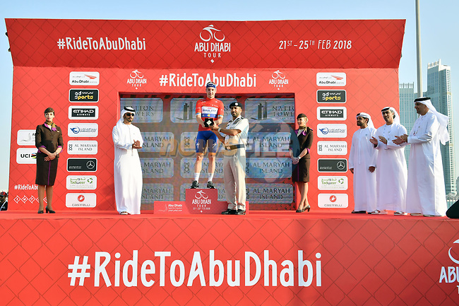 Elia Viviani (ITA) Quick-Step Floors retains the race leaders Red Jersey at the end of Stage 3 of the 2018 Abu Dhabi Tour, Nation Towers Stage running 133km from Nation Towers to Big Flag, Abu Dhabi, United Arab Emirates. 23rd February 2018.<br /> Picture: LaPresse/Massimo Paolone | Cyclefile<br /> <br /> <br /> All photos usage must carry mandatory copyright credit (© Cyclefile | LaPresse/Massimo Paolone)
