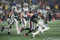 FOXBOROUGH, MA - NOVEMBER 24: New England Patriots Linebacker Jamie Collins #58 comes in to tackle Dallas Cowboys Runningback Tony Pollard #20 during a game between Dallas Cowboys and New England Patriots at Gillettes on November 24, 2019 in Foxborough, Massachusetts.