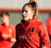 20200911 - TUBIZE , Belgium : Tessa Wullaert pictured during the training session of the Belgian Women's National Team, Red Flames ahead of the Women's Euro Qualifier match against Switzerland, on the 28th of November 2020 at Proximus Basecamp. PHOTO: SEVIL OKTEM | SPORTPIX.BE