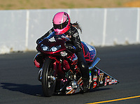 Jul. 29, 2011; Sonoma, CA, USA; NHRA pro stock motorcycle rider Angie Smith during qualifying for the Fram Autolite Nationals at Infineon Raceway. Mandatory Credit: Mark J. Rebilas-