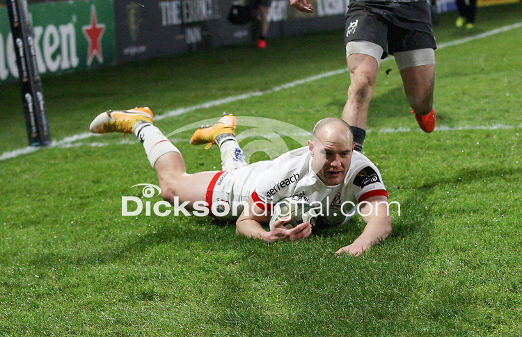 2nd January 2021   Ulster vs Munster <br /> <br /> Matt Faddes scores Ulster's first try during the PRO14 Round 10 clash between Ulster Rugby and Munster Rugby at the Kingspan Stadium, Ravenhill Park, Belfast, Northern Ireland. Photo by John Dickson/Dicksondigital