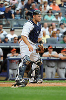 New York Yankees catcher Russell Martin #55 during a game against the Baltimore Orioles at Yankee Stadium on September 5, 2011 in Bronx, NY.  Yankees defeated Orioles 11-10.  Tomasso DeRosa/Four Seam Images
