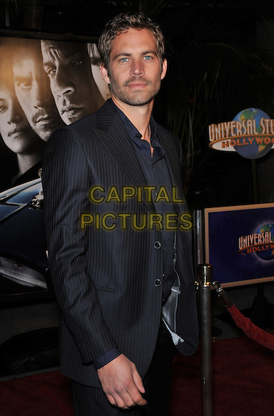 """30 November 2013 - Santa Clarita, California - Paul Walker died at the age of 40 in a car accident while attending a charity event for his organization Reach Out Worldwide. The accident occurred in Santa Clarita when Walker's Porsche lost control and crashed into a tree. The car burst into flames and exploded. File Photo: 12 March 2009 - Universal City, CA - """"Fast & Furious"""" Los Angeles Premiere at the Universal City Walk Gibson Amphitheatre. <br /> CAP/ADM/JAG<br /> ©Jaguar/AdMedia/Capital Pictures"""