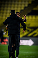 7th November 2020; Vicarage Road, Watford, Hertfordshire, England; English Football League Championship Football, Watford versus Coventry City; Troy Deeney (Watford) celebrates their 3-2 win with manager Vladimir Ivic.