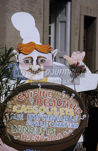 Europe/France/Languedoc-Roussillon/11/Aude/Carcassonne: Détail d'une enseigne de restaurant