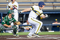 Michigan Wolverines outfielder Carmen Benedetti (43) follows through on his swing against the Eastern Michigan Hurons on May 3, 2016 at Ray Fisher Stadium in Ann Arbor, Michigan. Michigan defeated Eastern Michigan 12-4. (Andrew Woolley/Four Seam Images)