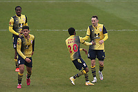 Sam Ashford of Woking (R) scores the first goal for his team and celebrates during Dagenham & Redbridge vs Woking, Vanarama National League Football at the Chigwell Construction Stadium on 3rd May 2021