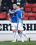 St Johnstone v Hibernian…27.02.19…  McDiarmid Park    SPFL<br />Chris Kane celebrates his goal with Richard Foster<br />Picture by Graeme Hart. <br />Copyright Perthshire Picture Agency<br />Tel: 01738 623350  Mobile: 07990 594431