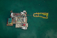 aerial photograph barges Biscayne Bay Miami, Florida