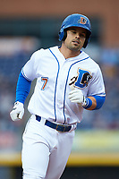 Jake Smolinski (7) of the Durham Bulls rounds the bases after hitting a home run against the Gwinnett Braves at Durham Bulls Athletic Park on April 20, 2019 in Durham, North Carolina. The Bulls defeated the Braves 11-3 in game one of a double-header. (Brian Westerholt/Four Seam Images)