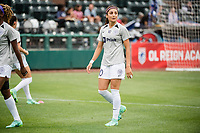 TACOMA, WA - JULY 31: Nadia Nadim #10 of Racing Louisville FC warms up before a game between Racing Louisville FC and OL Reign at Cheney Stadium on July 31, 2021 in Tacoma, Washington.