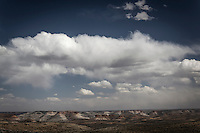 Sandstone towers that, 50 million years ago, were channels in a lake as vast as the clouds now floating in the sky over southwestern Wyoming.