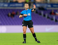 ORLANDO, FL - FEBRUARY 21: Referee Tori Penso whistles a play during a game between Canada and Argentina at Exploria Stadium on February 21, 2021 in Orlando, Florida.