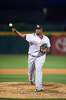 Louisville Bats relief pitcher Jumbo Diaz (50) delivers a pitch during a game against the Buffalo Bisons on June 20, 2016 at Coca-Cola Field in Buffalo, New York.  Louisville defeated Buffalo 4-1.  (Mike Janes/Four Seam Images)