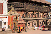 Bhaktapur, Nepal.  Palace of Fifty-five Windows.  Golden Gate Entrance to the Royal Palace on left.   The palace and the golden gate survived the April 2015 earthquake with only minor damage.