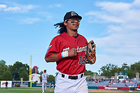 Billings Mustangs second baseman Quincy McAfee (19) jogs off the field between innings of a Pioneer League game against the Grand Junction Rockies at Dehler Park on August 15, 2019 in Billings, Montana. Billings defeated Grand Junction 11-2. (Zachary Lucy/Four Seam Images)