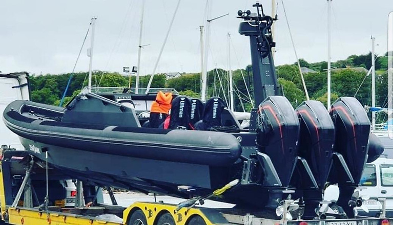 The massive three engined RIB arrives in Cork Harbour