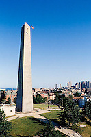 7783-21  Bunker Hill monument, Charlestown, MA view towards Boston