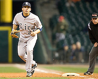 Rice Owl Abe Gonzales against the Texas Tech Red Raiders on Saturday March 6th, 2100 at the Astros College Classic in Houston's Minute Maid Park.  (Photo by Andrew Woolley / Four Seam Images)