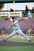 Isaac Anderson (48) of the Rancho Cucamonga Quakes pitches during a game against the Inland Empire 66ers at San Manuel Stadium on July 9, 2017 in San Bernardino, California. Inland Empire defeated Rancho Cucamonga 12-2. (Larry Goren/Four Seam Images)