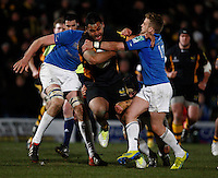 Photo: Richard Lane/Richard Lane Photography. London Wasps v Leinster Rugby. Amlin Challenge Cup Quarter Final. 05/04/2013. Wasps' Billy Vunipola attacks.