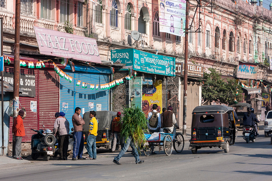 India, Dehradun.  Street Scene in front of the Inamullah Building, Gandhi Road.