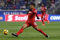 Harrison, NJ - Thursday March 01, 2018: German Mejía. The New York Red Bulls defeated C.D. Olimpia 2-0 (3-1 on aggregate) during a 2018 CONCACAF Champions League Round of 16 match at Red Bull Arena.