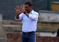 """BOGOTA - COLOMBIA, 25-01-2021: Alexis Garcia, tecnico de La Equidad, durante partido entre La Equidad y Atletico Nacional, de la fecha 2 por la Liga BetPlay DIMAYOR I 2021, jugado en el estadio Estadio Hector """"El Zipa"""" Gonzalez en la ciudad de Zipaquira.  / Alexis Garcia coach of La Equidad, during a match between La Equidad and Atletico Nacional, of the 2nd date for BetPlay DIMAYOR I 2021 League at the Hector """"El Zipa"""" Gonzalez stadium in Zipaquira city.  / Photo: VizzorImage / Daniel Garzon / Cont."""