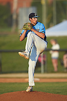 Dry Pond Blue Sox relief pitcher Michael Crayton (19) (West Stanley HS) in action against the Mooresville Spinners at Moor Park on July 2, 2020 in Mooresville, NC.  The Spinners defeated the Blue Sox 9-4. (Brian Westerholt/Four Seam Images)