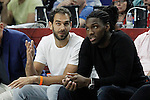York Knicks' Jose Manuel Calderon (l) and Denver Nuggets Kenneth Faried during Euroleague Semifinal match. May 15,2015. (ALTERPHOTOS/Acero)