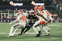 FOXBOROUGH, MA - OCTOBER 27: New England Patriots Runningback Sony Michel #26 turns back inside as Cleveland Browns Safety Morgan Burnett #42, Cleveland Browns Safety Jermaine Whitehead #35 in pursuit Cleveland Browns Defensive End Myles Garrett #95 give chase during a game between Cleveland Browns and New Enlgand Patriots at Gillettes on October 27, 2019 in Foxborough, Massachusetts.