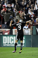 DC United forward Charlie Davies (9) celebrates after scoring on a penalty kick to tie the game.     DC United tied  Los Angeles Galaxy 1-1, at RFK Stadium, Saturday April 9, 2011.