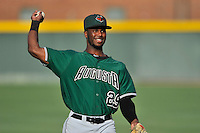 Shortstop Kelvin Beltre (29) of the Augusta GreenJackets warms up before a game against the Greenville Drive on Thursday, June 9, 2016, at Fluor Field at the West End in Greenville, South Carolina. Augusta won, 8-2. (Tom Priddy/Four Seam Images)
