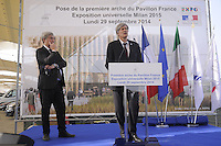 - Milano, cantiere per  l'Esposizione Mondiale Expo 2015; cerimonia per l'inizio dei lavori di costruzione del padiglione francese; Stéphane Le Foll, ministro francese dell'agricoltura, agroalimentare e foreste, a sinistra Alain Berger, Commissario generale per l'Expo<br />
