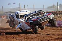 Apr 17, 2011; Surprise, AZ USA; LOORRS driver Chris Brandt (82) leads Corey Sisler (19) during round 4 at Speedworld Off Road Park. Mandatory Credit: Mark J. Rebilas-